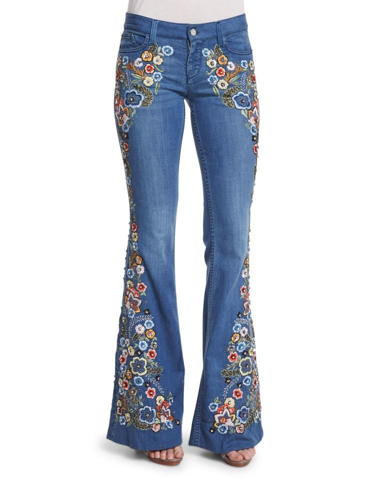 Alice Olivia Multi Colored Light Wash Flare Leg Jeans Size 25 2 Flare Leg Jeans Womens Flare Jeans Floral Denim Pants