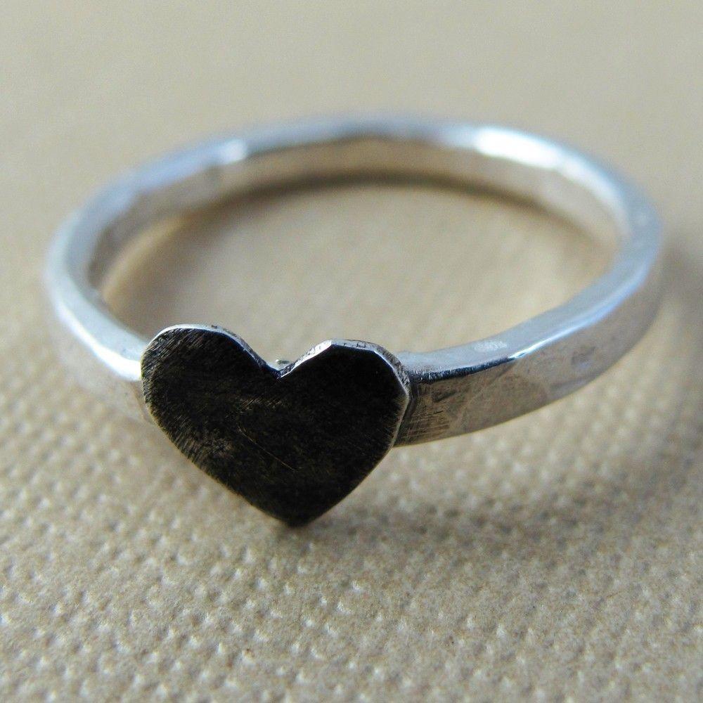 Black Heart Ring - Sterling Silver. $38.00, via Etsy.