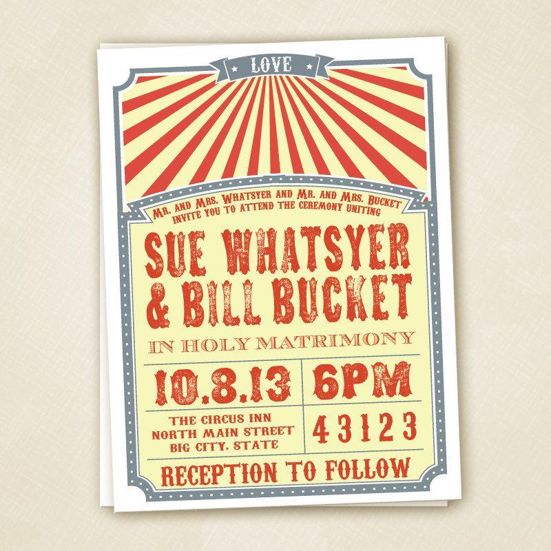 Circus Wedding Invitation PRINTABLE. $20.00, via Etsy.   Vintage ...