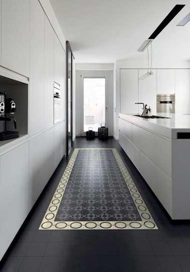 Cuisine Design Blanche Sol Carreaux Ciment Noir Cuisines Design