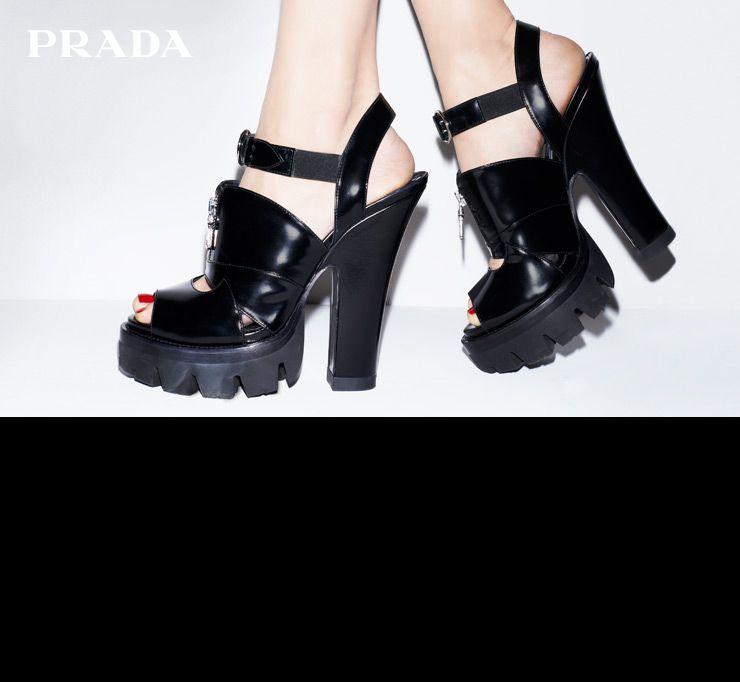 PRADA lug sole buckle shoe