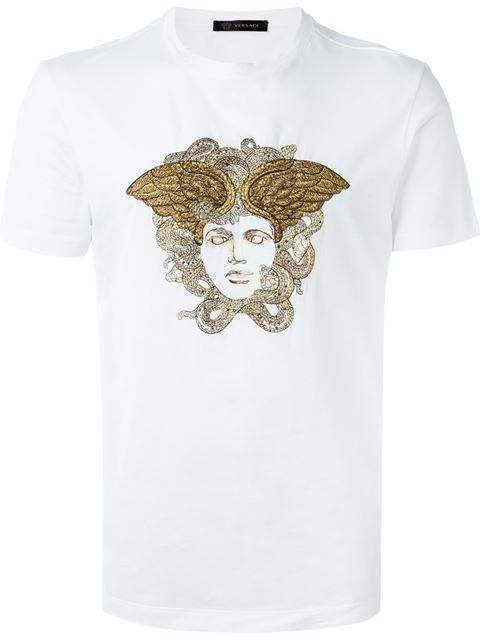 Versace Embroidered Medusa T Shirt Elite Farfetch Com Tshirt Design Men Mens Tshirts Mens Fashion Jeans