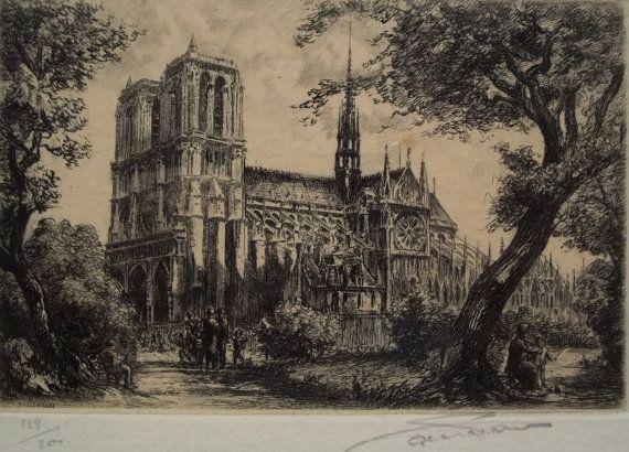 Radierung von Notre Dame de Paris  Original von PrintStore25