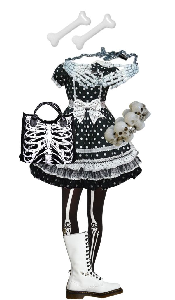 """Black and White Creepy Cute"" by stitchwork-panda on Polyvore"