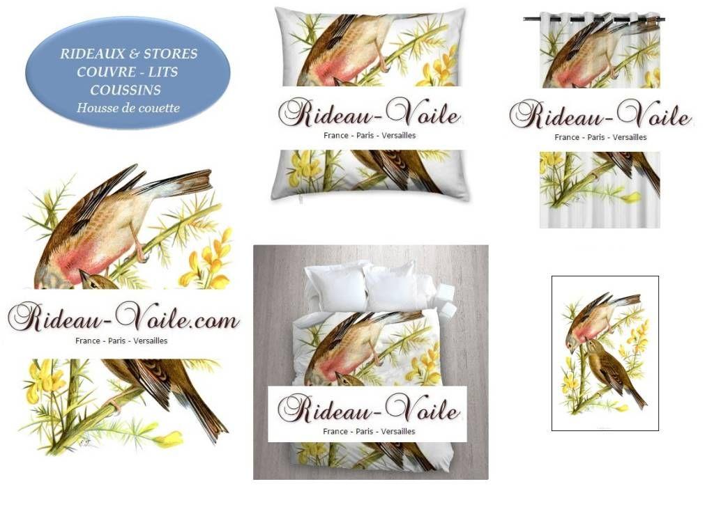Imprimés à motifs avec des oiseaux pour rideaux sur mesure, stores, coussins & housse de couettes dans tissus sur personnalisés (de Rideau-voile)