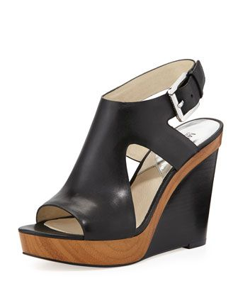 58e504a709d Baby soft leather and oh so comfy. I had to buy them. MICHAEL Michael Kors  Josephine Leather Wedge Sandal.
