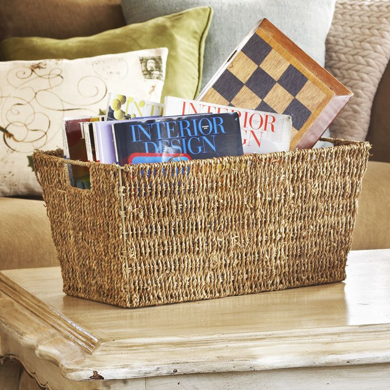 Michaela Slim Sea Grass Rectangular Utility Store Magazines In The Bedroom Or Living Room