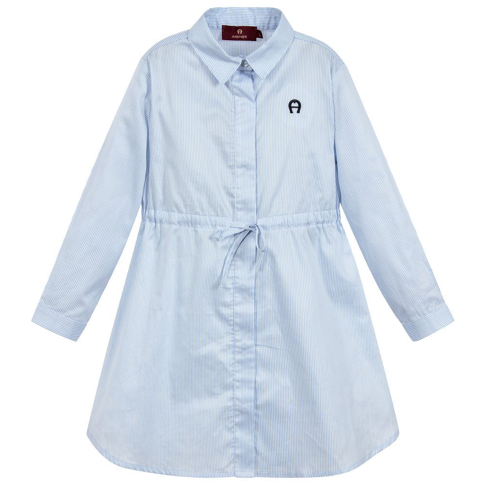02e4e3a3c Blue Stripe Cotton Shirt Dress | L&C Drop off gifts | Cotton shirt ...