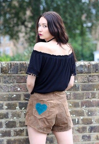 Vintage+90s+Brown+Suede+Leather+Heart+Patchwork+Shorts