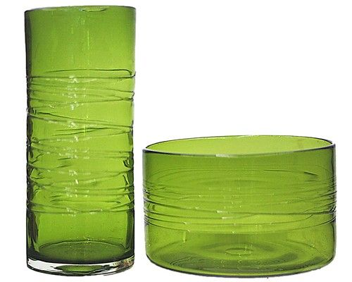 Green Glass Vase And Bowl Vm Decoratives Collectibles
