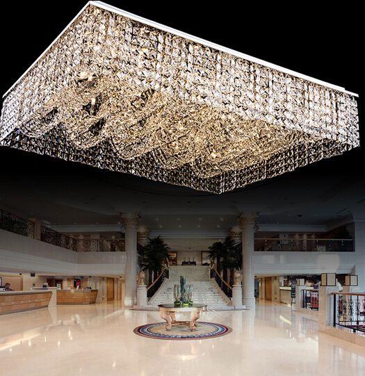 Lighting For Large Lobby New Flush Mount Rectangular Crystal Chandelier Ceiling Fixtures Large Modern Lighting Chandeliers Chandelier Modern Chandelier