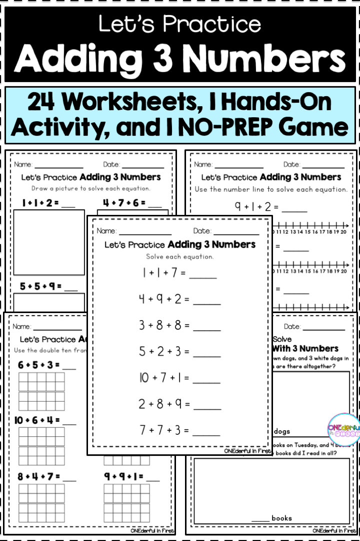 Adding 3 Numbers Worksheets Hands On Activity And No Prep Game Hands On Activities Resource Classroom Teaching Resources