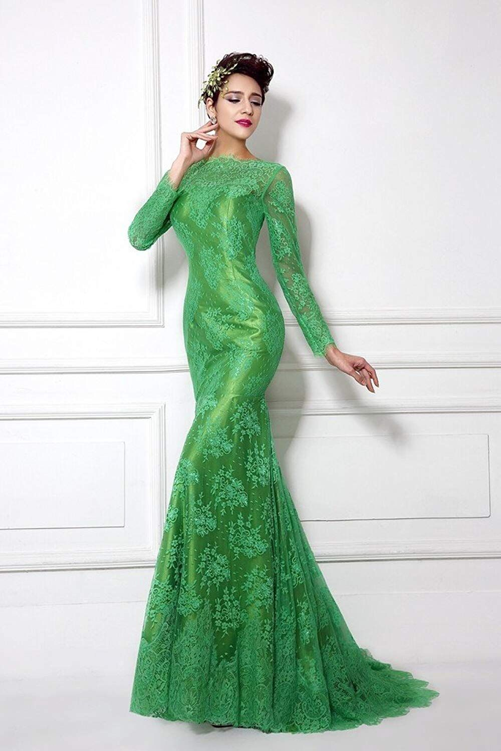 e8fc9eceacb6 Lemai Women's Green Long Sleeves Sheer Lace Mermaid Mother of the Bride  Dresses >>> To view further for this item, visit the image link.