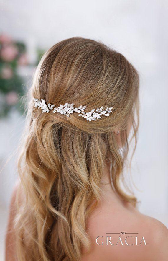99dd9ebfdf46d Ivory bridal hair pins White bridal flower hair pins Ivory Wedding ...