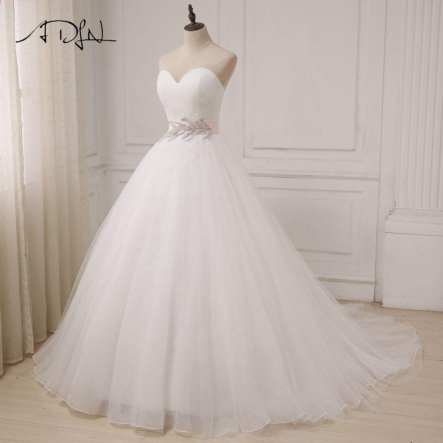 94af4b67da06 ADLN Nya Vit / Elfenben Bröllopsklänningar Billiga Sweetheart Ärmlös  Bollkjole Tulle Brudklänningar Sahshes Rosa Robe De Mariage