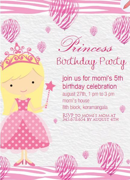 Princess themed kids birthday party invitation httpswww kid birthdays princess kids birthday party invitations 5th birthday filmwisefo Gallery