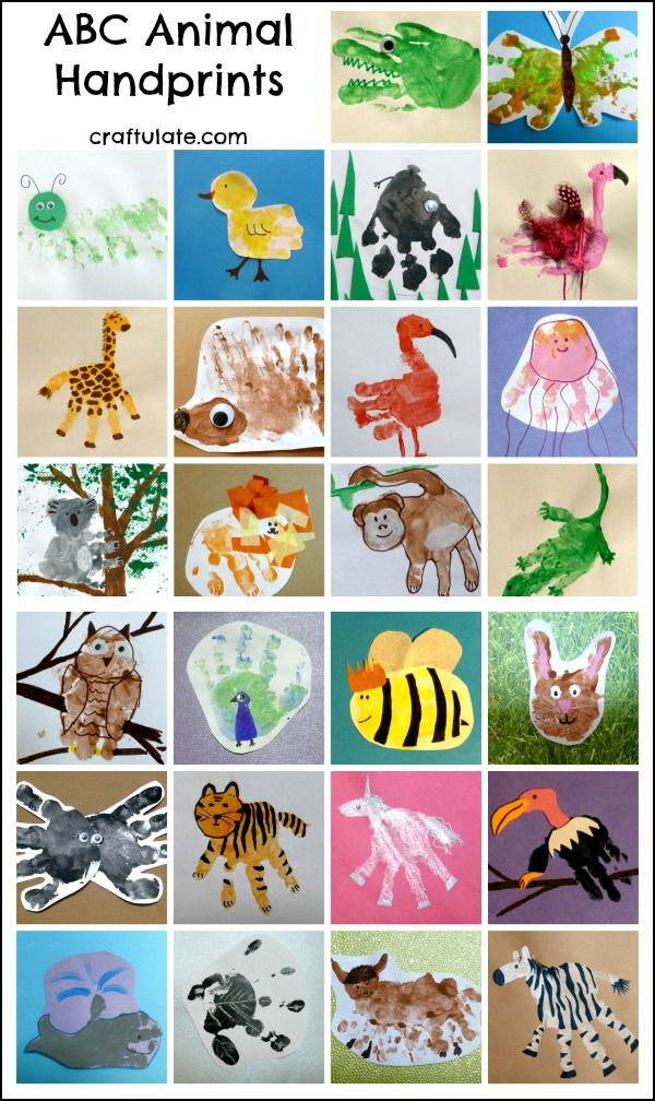 So Cute An Animal Handprint For Each Letter Of The Alphabet Handprint Art Handprint Crafts Hand Print Animals