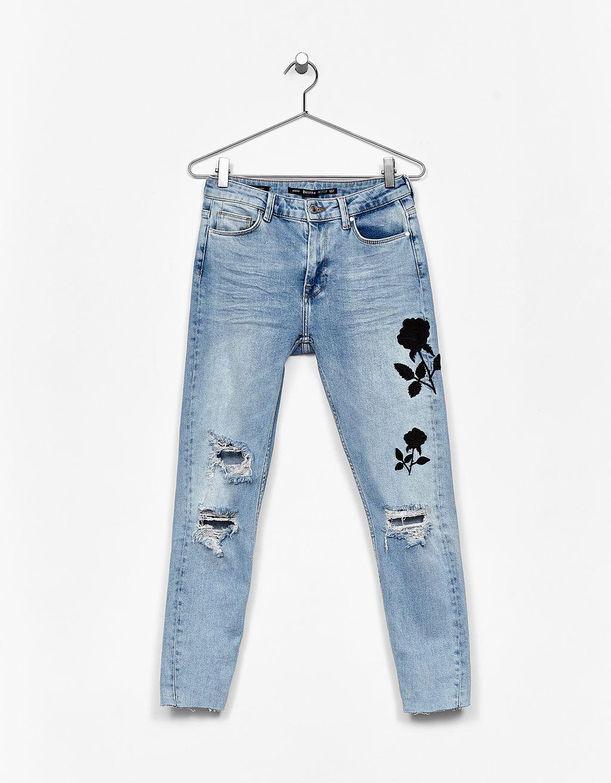 f338ce71d Jeans Skinny Fit rosa negra bordada en 2019 | She's got the look ...