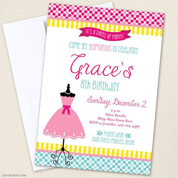 Dress-Up Party Invitations - Professionally printed *or* DIY ...