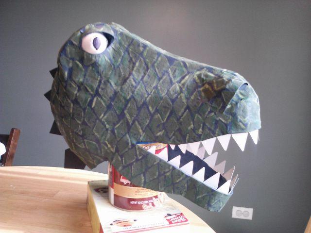 how to make a paper mache dinosaur sculpture