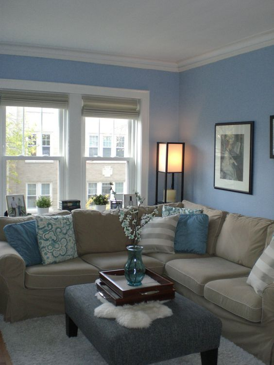 Best Light Blue Walls And Textiles And A Tan Couch Look Refined 400 x 300