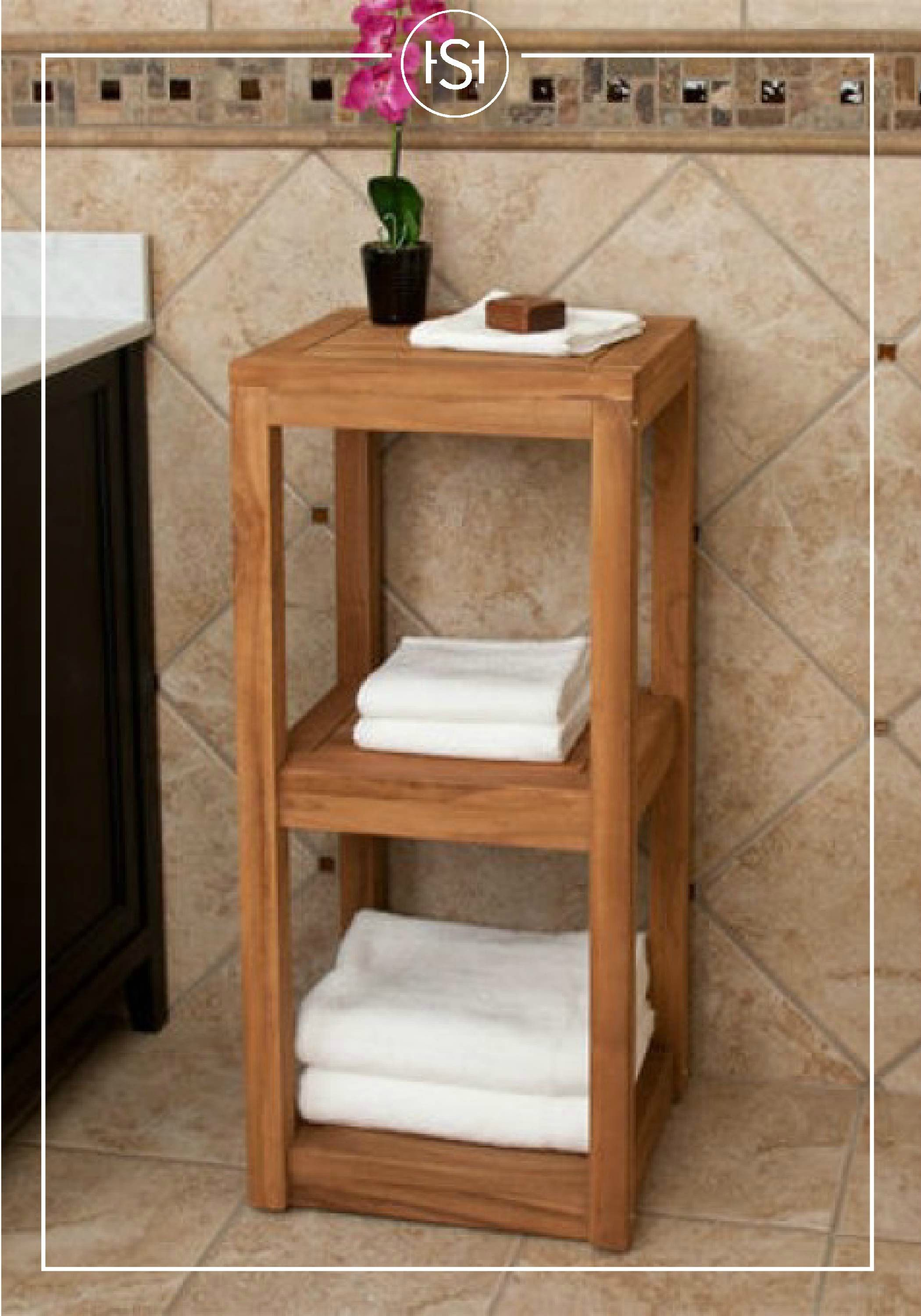 Three Tier Teak Towel Shelf Bathroom Shelves Towel Shelf