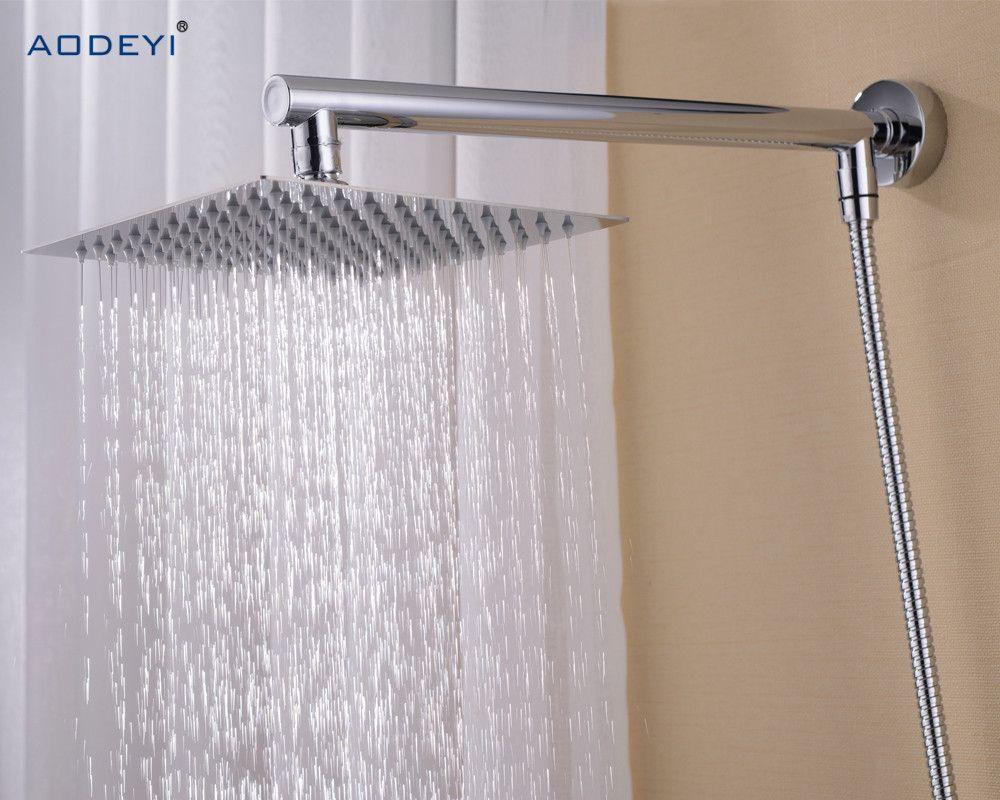 Bathroom Rain Shower Set Wall Mounted Brass Shower Arm Square Stainless Steel 8 Shower Head 150cm Shower Hose Affiliate Regendusche Dusche