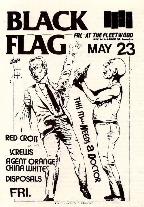 2x3 Vintage 1980 s BLACK FLAG Punk Rock Flyer Sticker / decal Agent Orange
