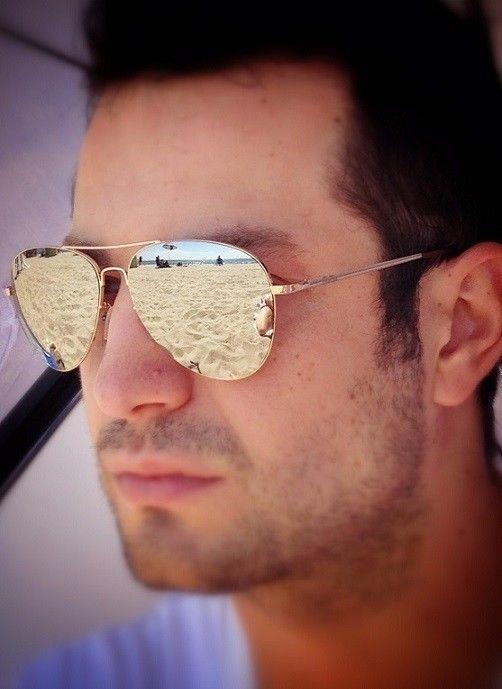 mirrored aviator sunglasses for men  Cool Rose Gold Mens Silver Mirror Aviator Preppy Sunglasses 110 RG ...