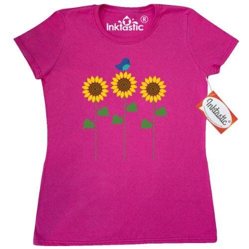 Inktastic Sunflower Garden And Bird Women/'s T-Shirt Gardening Summer Bluebird