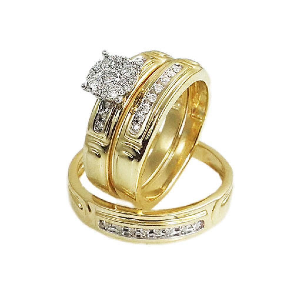 Trio De Anillo De Boda En Oro Trio Ring Couple Wedding Rings Wedding Ring Sets