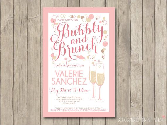 Bridal Shower Brunch Invitation Invite Pink Digital Pdf Champagne Bubbly