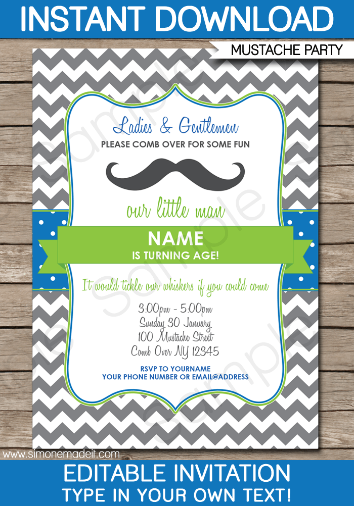 Mustache Party Invitations Template Party Invite Template Printable Birthday Invitations Invitation Template