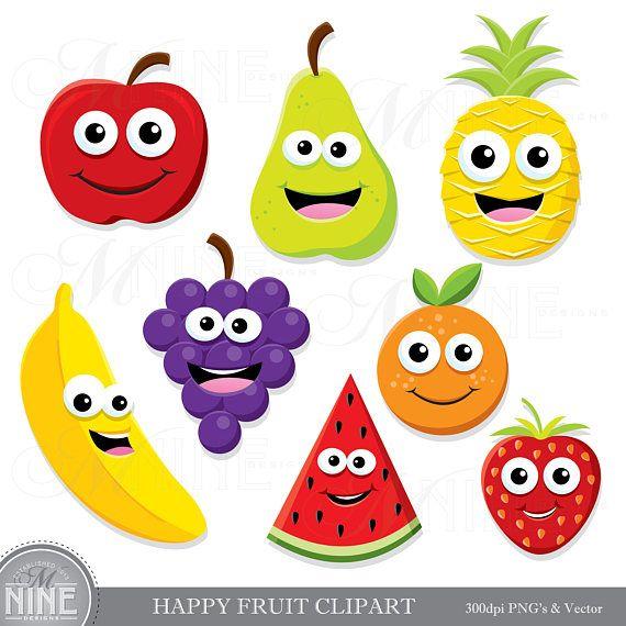 Happy Fruit Clip Art Fruit Clipart Downloads Cute Fruit Clipart Healthy Fruit Theme Scrapbook Clipart Vector Fruit Vegan Clip Art In 2021 Happy Fruit Fruit Clipart Cute Fruit