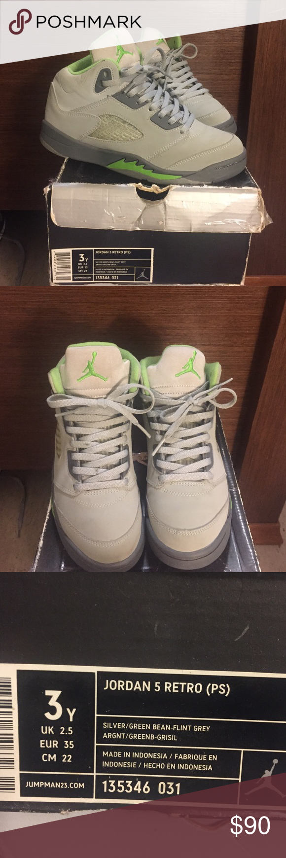 Jordan 5 Retro PS Size 3 (EUR Size 35) Jordan 5 Retro PS Size 3Y (EUR Size 35). Silver, Green, Flint Grey. I'm very good condition (bought these is 2006 when they first released). These are a classic, price is firm! Comes with original box. Also posted on MERCARI (TinyTarii). Jordan Shoes Sneakers