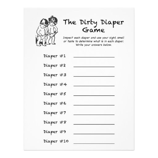 Baby Shower Games Dirty Diaper Game Card 2