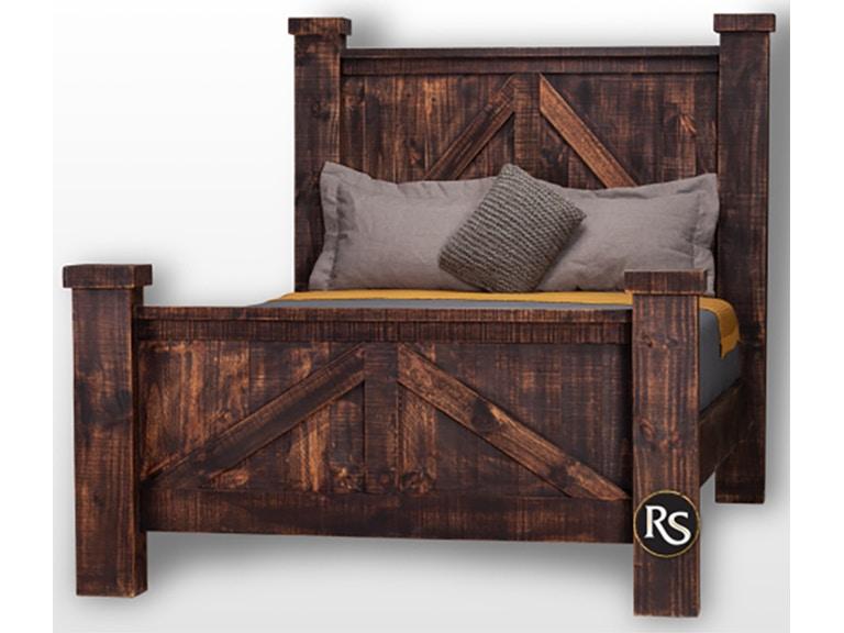 Rusticos Sierra Bedroom Rancho Flat Top Queen Size Bed Lr Cam 90