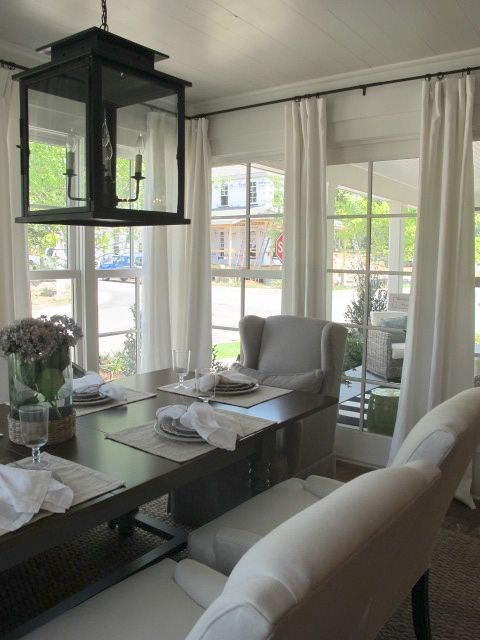 Beautiful Southern Living Idea House   Dining Room Surrounded By Floor To Ceiling  Windows. White Wood