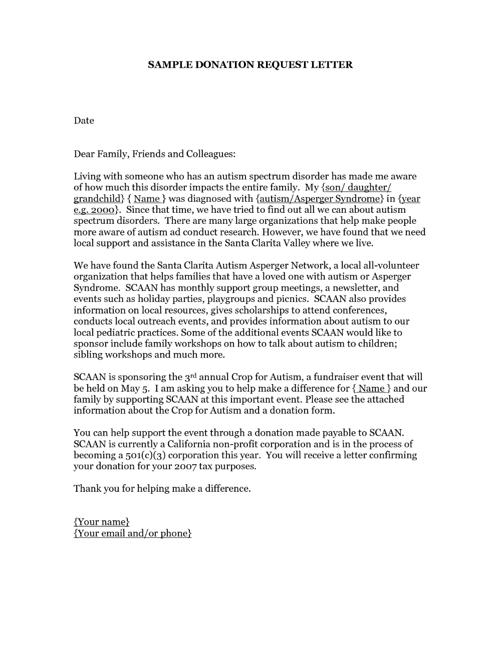 Donation Request Letter A Request For Donation Asks For Donations