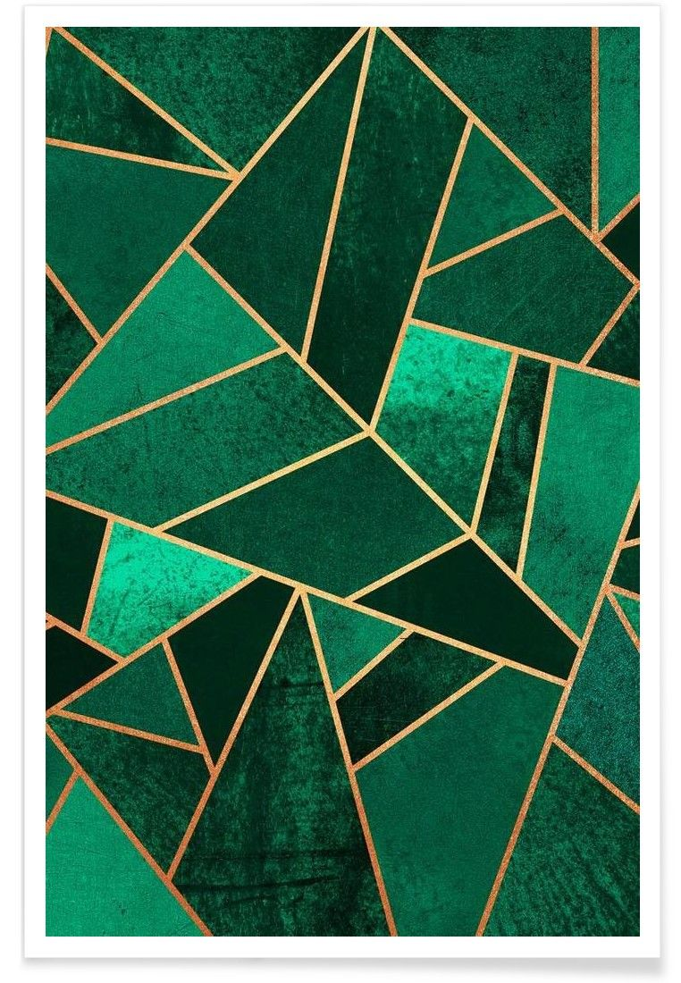 Emerald and Copper Poster Geometric art, Prints, Abstract