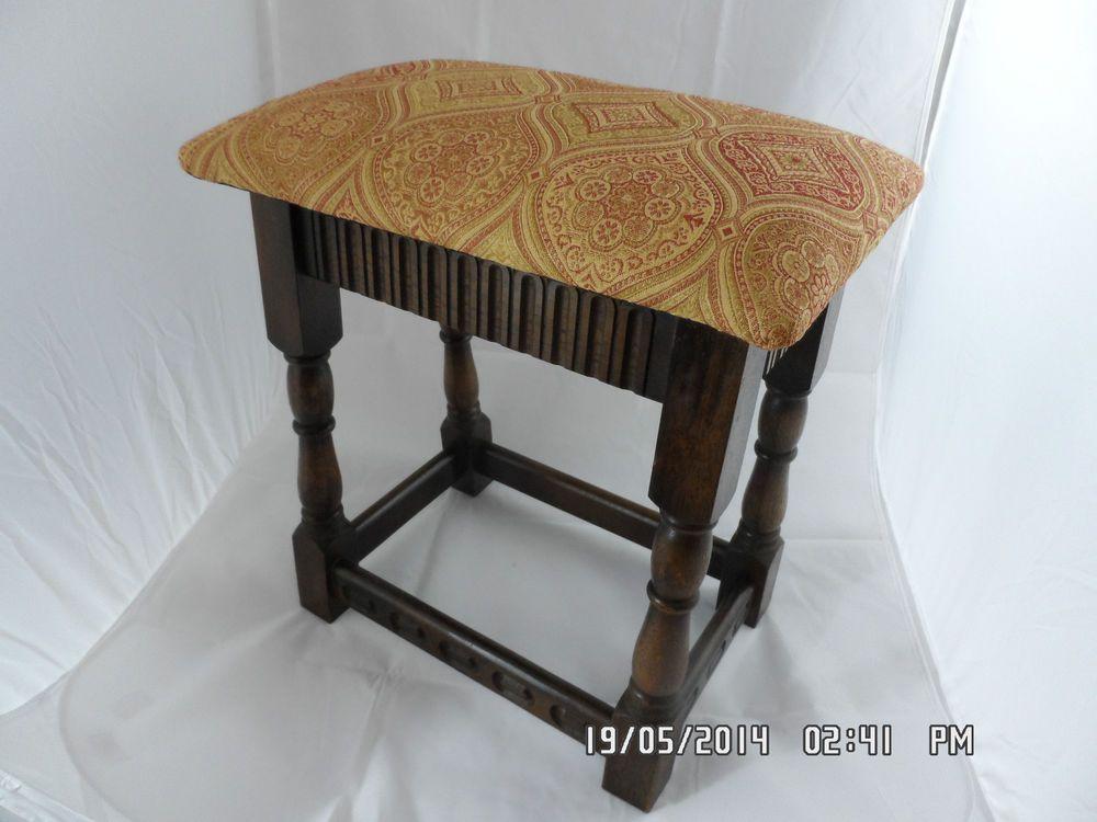 Priory dark oak Upholstered joint stool