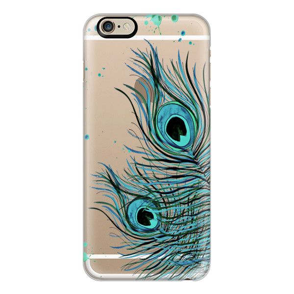 iPhone 6 Plus/6/5/5s/5c Case - PEACOCK FEATHER iPhone 6 Crystal Clear... ($40) ❤ liked on Polyvore