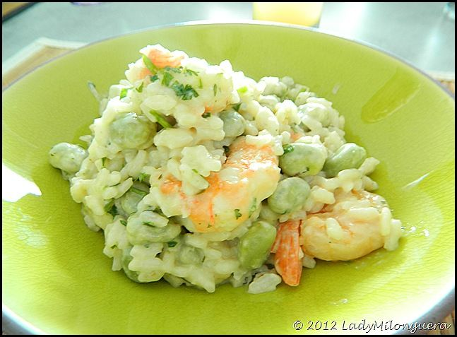 Risotto gambas & fèves