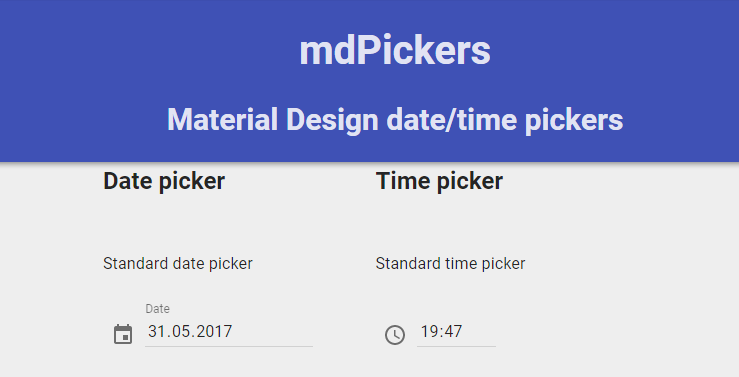 mdPickers – date/time pickers built with Angular Material