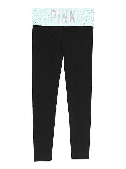 PINK Bling Yoga Legging - XS, Bling/Mint