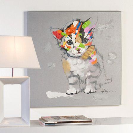 kunst f r das wohnzimmer casablanca lbild katze bunt handgemalt leinwand 70 x 70 cm. Black Bedroom Furniture Sets. Home Design Ideas