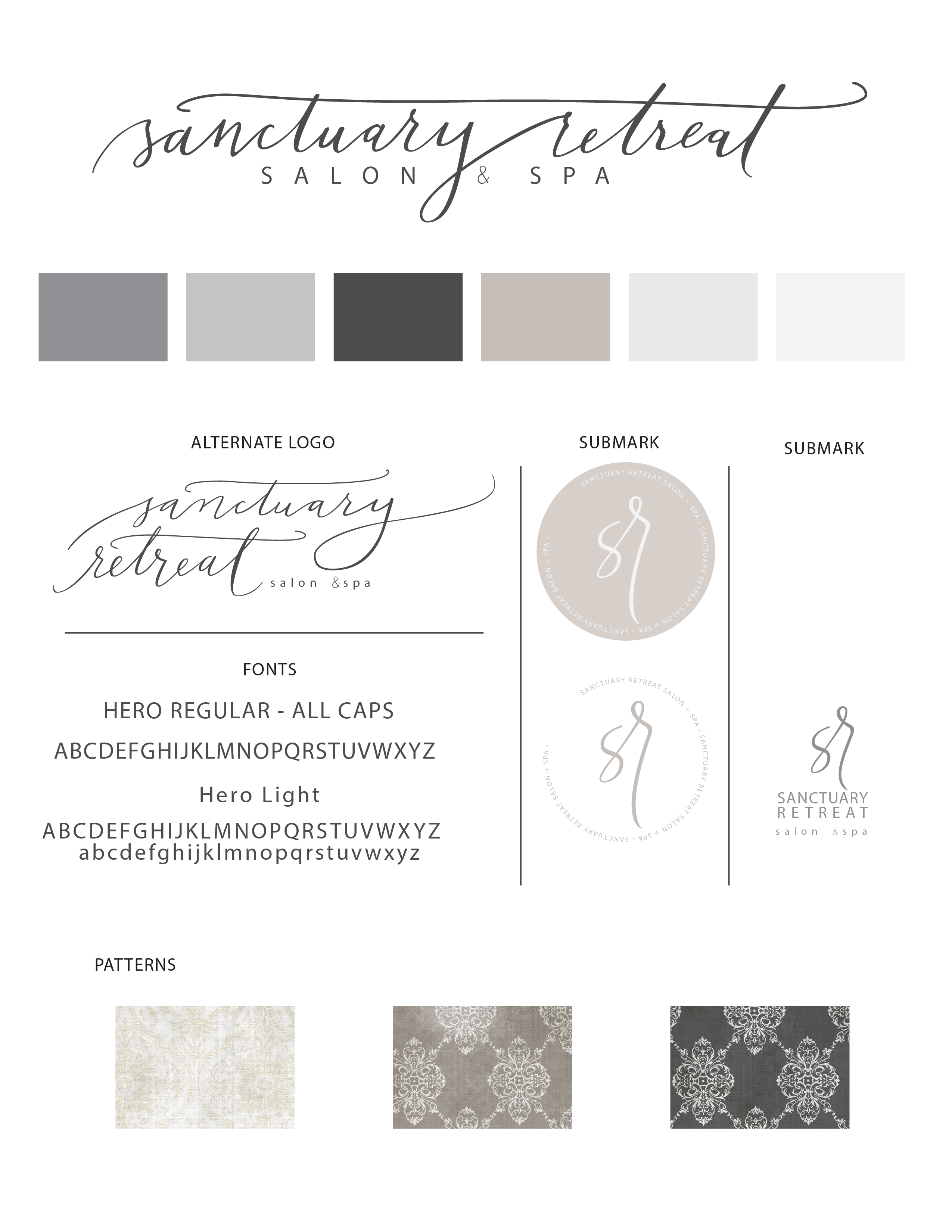 Sanctuary Retreat Salon and Spa branding guide designed by Charis Rountree at…
