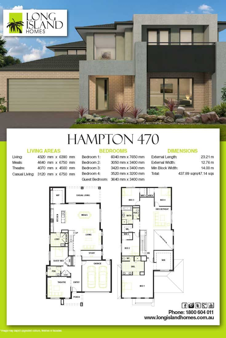Long island homes 2018 floor plan of the hampton 470 for Casa moderna hampton hickory