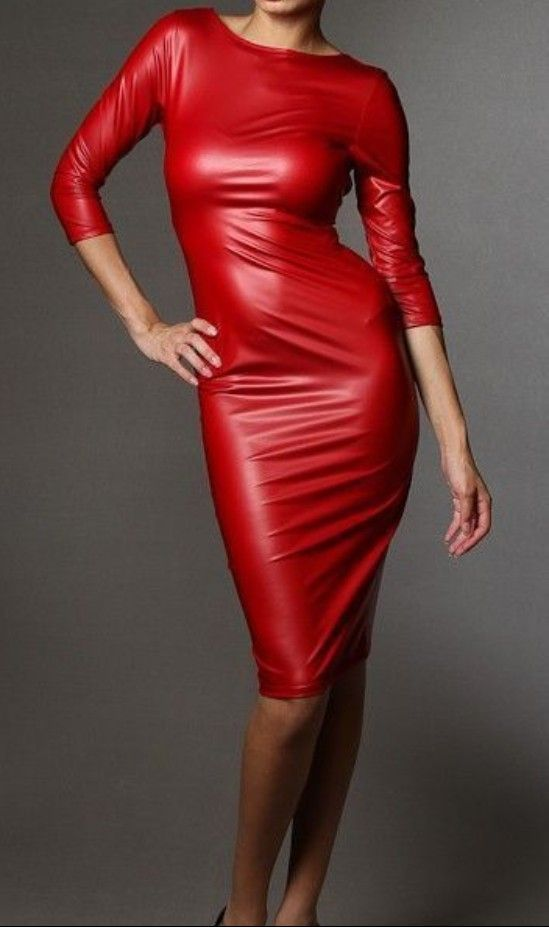e45548900d72 Red leather dress   outfits in 2019   Red leather dress, Leather ...