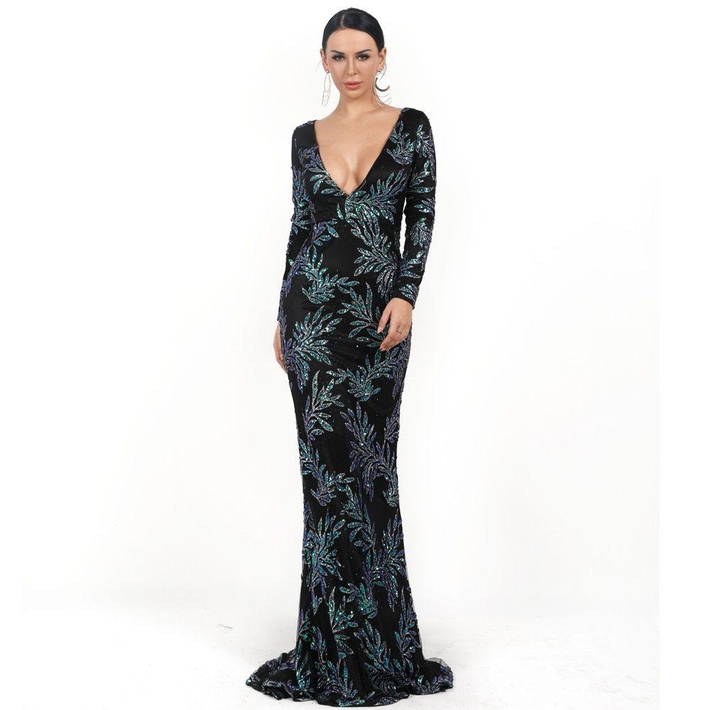 فستان سهرة أنيق بأكمام طويلة بتطريز ترتر أنيق Elegant Party Dresses Dresses Glitter Dress